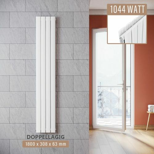 SONNI Design Paneelheizkörper Weiß Flachheizkörper Vertikal Doppellagig 1800x308mm