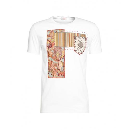 BOB Herren T-Shirt mit Patchwork Weiß