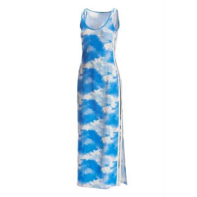 Boston Proper - Tie-Dye Metallic Track-Stripe Maxi Dress - Blue/white - Small