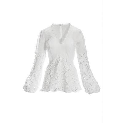 Boston Proper - Swiss Dot Lace V-Neck Long-Sleeve Top - White - Medium