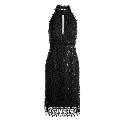 Boston Proper - Sequin Lace High Mock-Neck Sheath Dress - Black - 16