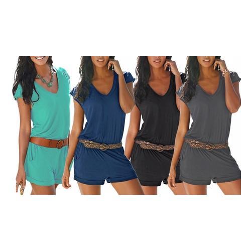 Damen Strand-Jumpsuit: Blau+Grau / S / 2