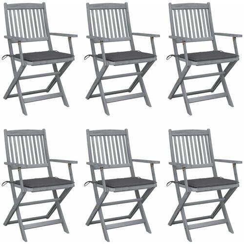 Klappbare Gartenstühle 6 Stk. mit Sitzkissen Massivholz Akazie