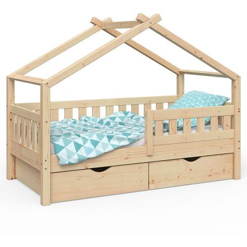 VitaliSpa Design Kinderbett 160x80 Babybett Jugendbett 2 Schubladen Natur Lattenrost