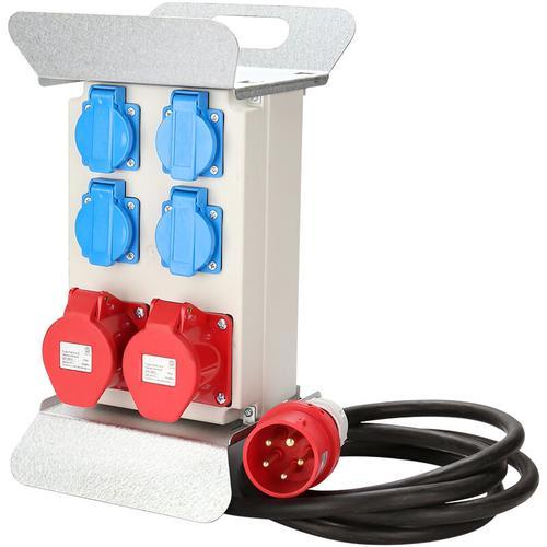 Verteiler Baustromverteiler Stromverteilung CEE 2 x 16A 400V+4x 230V 5 Polig IP44 Schuko