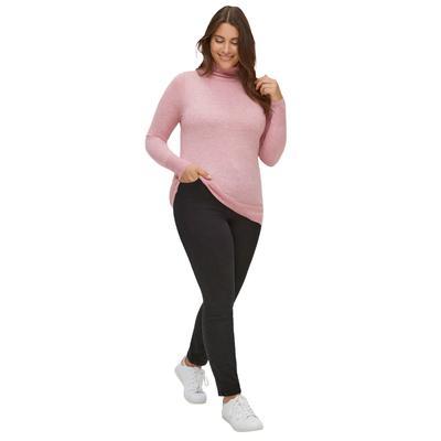 Plus Size Women's Turtleneck Sweater by ellos in Rose Mist Heather (Size 22/24)