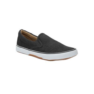 Wide Width Men's Canvas Slip-On Shoes by KingSize in Black (Size 15 W)