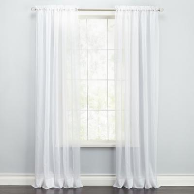 """BH Studio Sheer Voile Rod-Pocket Panel Pair by BH Studio in White (Size 120""""W 63"""" L)"""