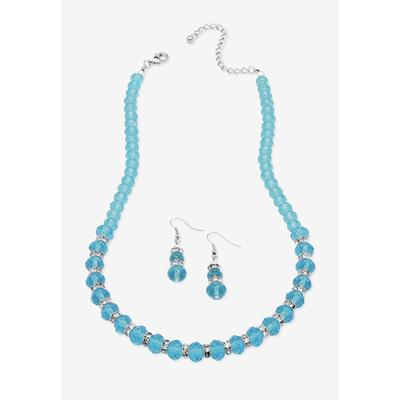 """Plus Size Women's Silver Tone Graduated Necklace & Earring Set Simulated 18"""" plus 2"""" ext by PalmBeach Jewelry in December"""