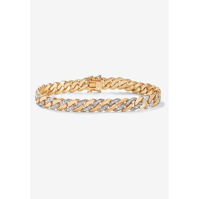 """Men's Big & Tall 9.5"""" Gold-Plated Curb-Link Bracelet with Diamond Accents by PalmBeach Jewelry in Gold"""