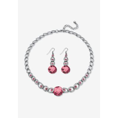 Plus Size Women's Silver Tone Collar Necklace and Earring Set, Simulated Birthstone by PalmBeach Jewelry in October