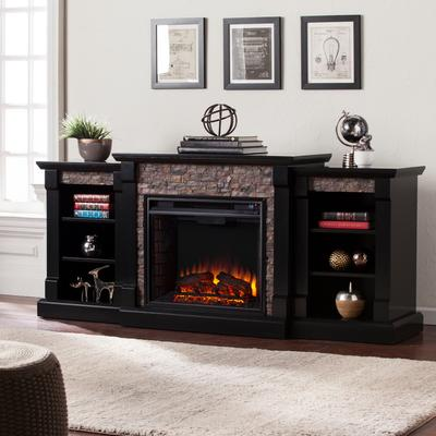 Gallatin Faux Stone Electric Fireplace with Bookcases by BrylaneHome in Black