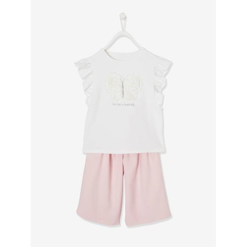 Festliches T-Shirts & Shorts weiß/rosa Gr. 146/152 von vertbaudet