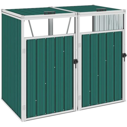 Mülltonnenbox für 2 Mülltonnen Grün 143×81×121 cm Stahl