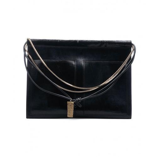 Borbonese Damen Schultertasche aus Leder Schwarz