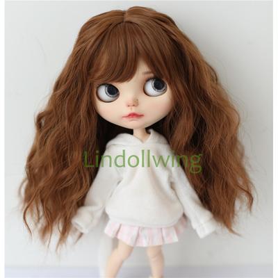 Perruque Blyth longue bouclée, cheveux bruns de 9 à 10 pouces