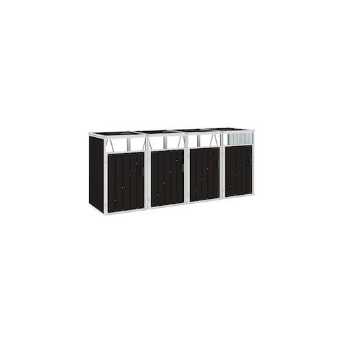 vidaXL Mülltonnenbox für 4 Mülltonnen Braun 286×81×121 cm Stahl
