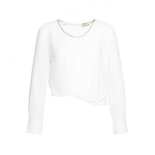 Liu Jo Damen Bluse mit Schmuckkette Weiß