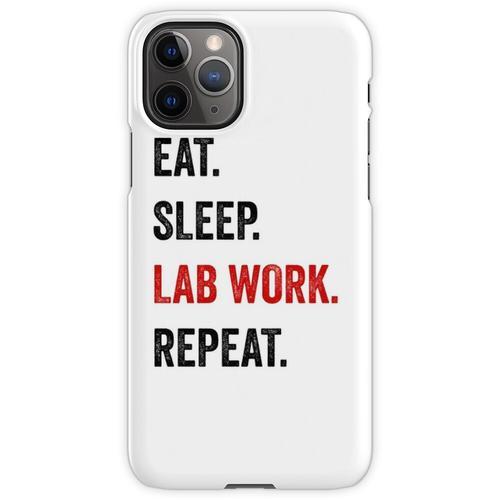 Essen Sie Schlaflaborarbeit Wiederholen Sie Labortechniker lustig iPhone 11 Pro Handyhülle