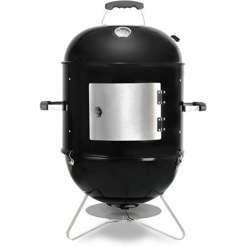 Räucherofen, 3in1 BBQ Holzkohlegrill mit Wasserschale, 3 Grillrost & Thermometer, Smoker mit