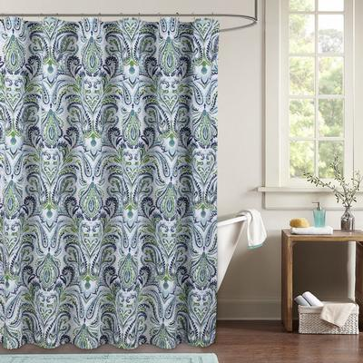 """Wide Width Provence Paisley Shower Curtain by Sky Home in Blue White Green (Size 72"""" W 72"""" L)"""