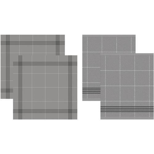 DDDDD Geschirrtuch Morvan, (Set, 4 tlg., Combi-Set: bestehend aus 2x Küchentuch + Geschirrtuch) grau Geschirrtücher Küchenhelfer Haushaltswaren