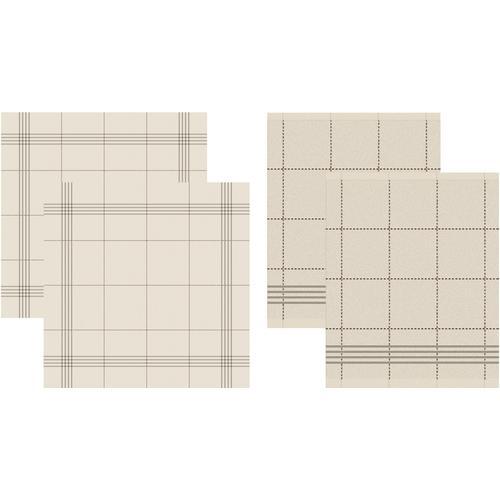 DDDDD Geschirrtuch Morvan, (Set, 4 tlg., Combi-Set: bestehend aus 2x Küchentuch + Geschirrtuch) beige Geschirrtücher Küchenhelfer Haushaltswaren