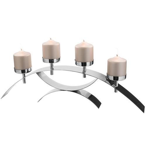 Fink Kerzenleuchter DIVINA, aus Edelstahl, 4-flammig silberfarben Kerzenhalter Kerzen Laternen Wohnaccessoires