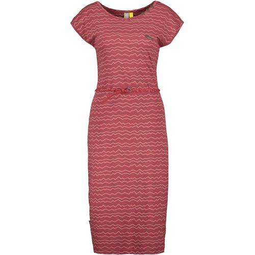 Alife & Kickin Sommerkleid MelliAK, knielanges Streifenkleid mit kleinem Gürtel rosa Damen Midikleider Kleider