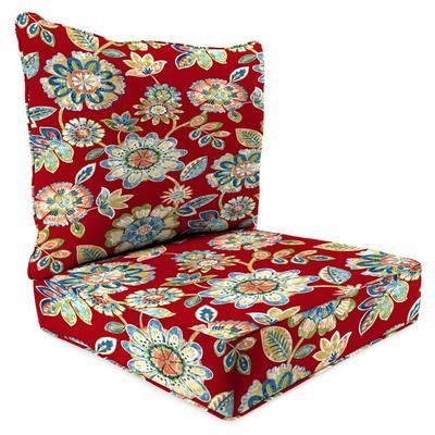 Outdoor 2PC Deep Deat Chair Cushion-DAELYN CHERRY RICHLOOM - Jordan Manufacturing 9740PK1-4290D