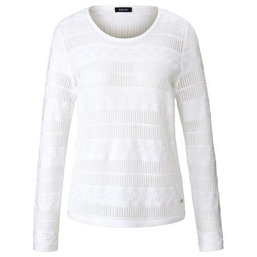 Pullover mit Ajourmuster Basler bright white