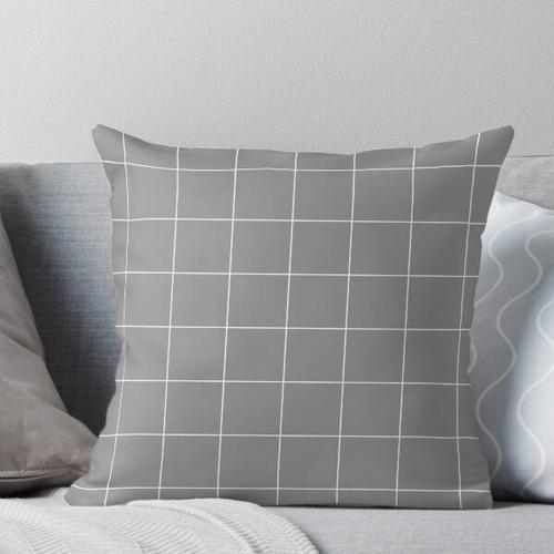 Fensterscheibe Check Grid (weiß / grau) Kissen