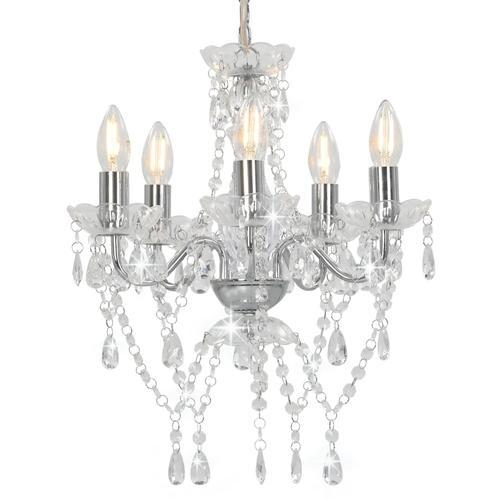 vidaXL Kronleuchter mit Kristallperlen Silbern Rund 5 x E14