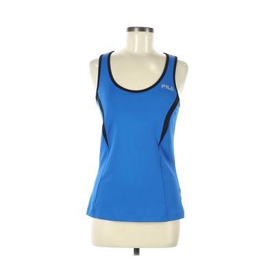 Fila Sport Active Tank Top: Blue Solid Activewear - Size Medium