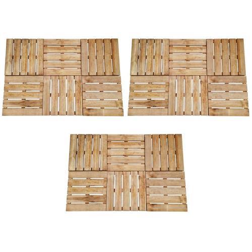 Terrassenfliesen 18 Stk. 50×50 cm Braun Holz