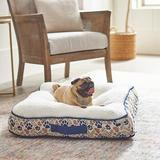 Frisco Tufted Square Orthopedic Pillow Cat & Dog Bed w/Removable Cover, Tan Novelty Paws, Medium