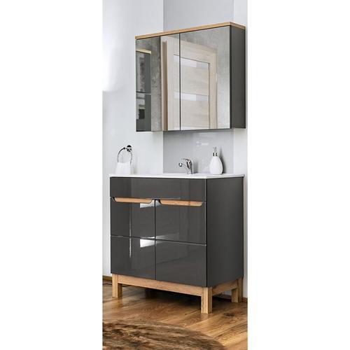 Lomadox - Komplett Badmöbel Set 5-teilig mit 80 cm Keramik Waschtisch, SOLNA-56 Hochglanz grau