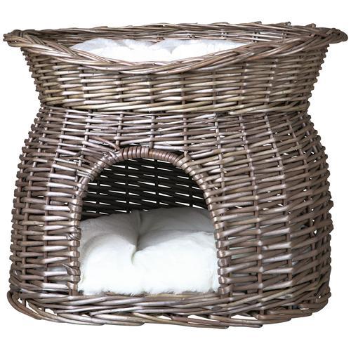 TRIXIE Tierkorb Weidenkorb mit Kissen grau Katzenkörbe -kissen Katze Tierbedarf