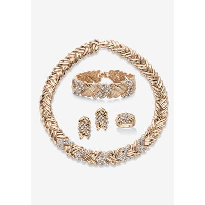 Plus Size Women's Gold Tone Braided Necklace, Earring, Bracelet and Ring Set by PalmBeach Jewelry in Crystal