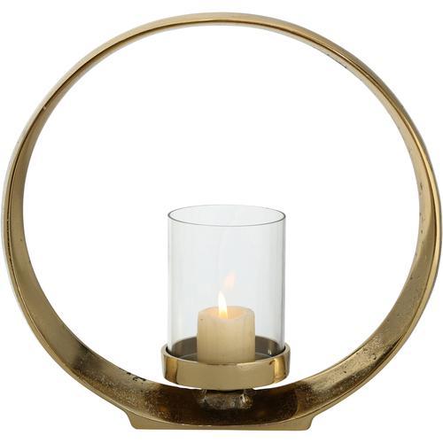 BOLTZE Windlicht Rolond, aus Aluminium und Glas goldfarben Kerzenhalter Kerzen Laternen Wohnaccessoires