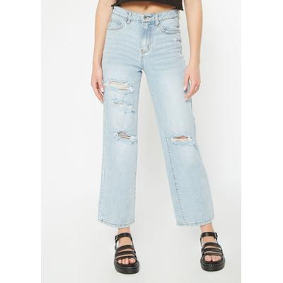 Rue21 Womens Light Wash Super High Waisted Ripped Skate Jeans - Size 11