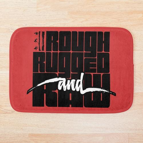 Rau, robust und roh - mit robustem Logo Badematte