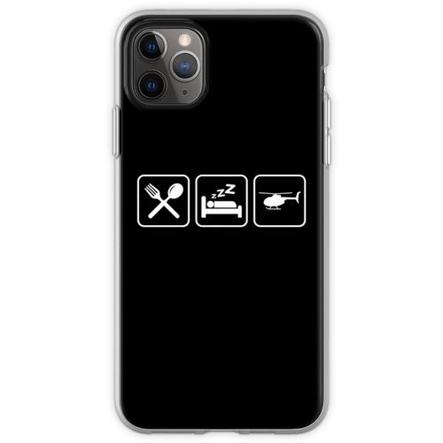 Helicopter - Eat, Sleep, Fly Helicopter Flexible Hülle für iPhone 11 Pro Max