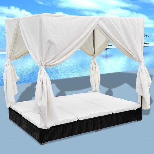 YOUTHUP Outdoor-Loungebett mit Vorhang Poly Rattan Schwarz