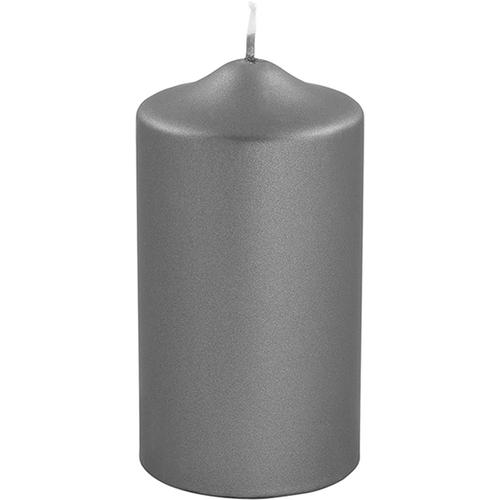 Fink Stumpenkerze, in Metallic-Optik, Höhe ca. 15 cm grau Kerzen Laternen Wohnaccessoires Stumpenkerze