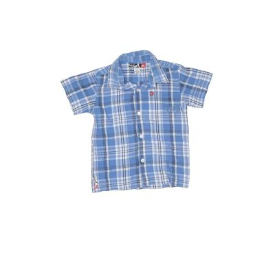 Quiksilver Short Sleeve Button Down Shirt: Blue Plaid Tops - Size 4Toddler