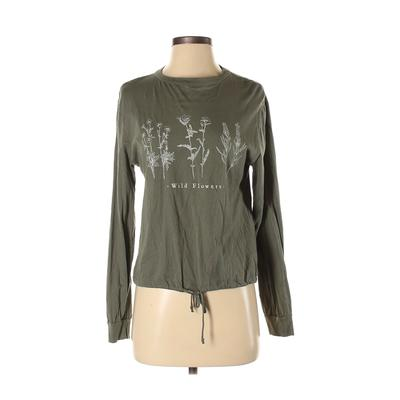 Dirty Laundry Long Sleeve T-Shirt: Green Solid Tops - Size Small