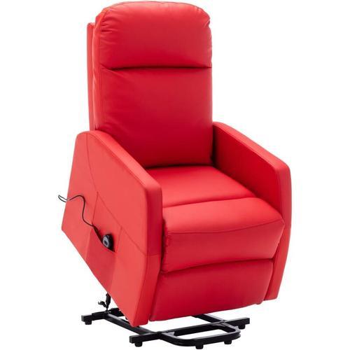 Sessel mit Aufstehhilfe Rot Kunstleder