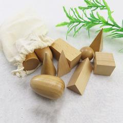 Blocs de géométrie en 3D, briques en bois solides, jouets cognitifs Montessori, jouets