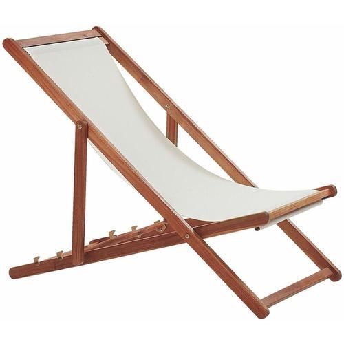Beliani - Liegestuhl aus dunklem Akazienholz mit beigem Bezug zusammenklappbar Balkon Terrasse